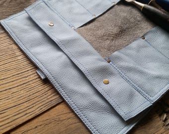 Large light blue leather chisel roll with extra large pouch