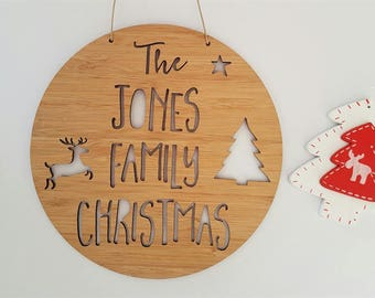 Family Christmas Wooden Bamboo Door-Wall Hanging-plaque-merry christmas- wall art-personalised-custom-christmas decoration-ornament-bauble