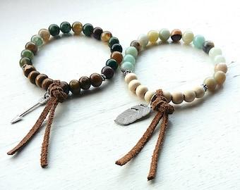 Boho diffuser bracelet- aromatherapy bracelet- essential oil diffuser bracelet- boho bracelet- healing jewelry- amazonite- Indian agate