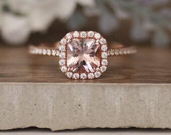 6mm Princess Cut Morganite Rose Gold Engagement Ring, Emerald Cut Diamond Halo Half Eternity Band, Morganite 14k Rose Gold Ring
