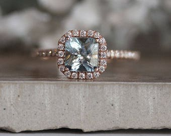 Princess Cut 6mm Natural Aquamarine Engagement Ring, 14k Rose Gold Aquamarine and Diamond Halo Ring, Bridal Ring, Rose Gold Wedding Ring