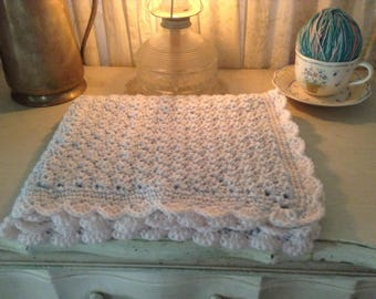 Light Blue and Pale Pink Baby Blanket