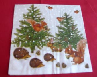 "Christmas theme napkin ""forest animals"""