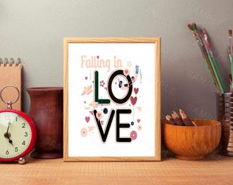 Falling In Love, Printable, Wall Art, Wall Decor,Digital, Instant Download,8 x 10, Valentine's Day