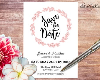 Wedding Save the Date, Save the Date DIY Wedding Invitation Printable Pink Save the Date Printable save-the-date Editable PDF 008
