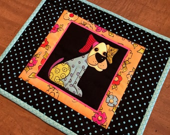 Dog Mug Rug, Loralie Harris dog fabric, mug rugs, snack mat, coaster, Quiltsy handmade, Item #245