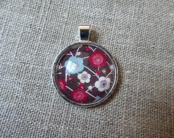 Cherry Blossom glass cabochon pendant