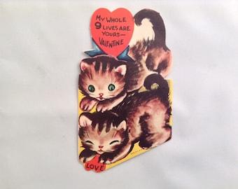 Vintage Valentine Card Kittens Paper Epherma Valentines