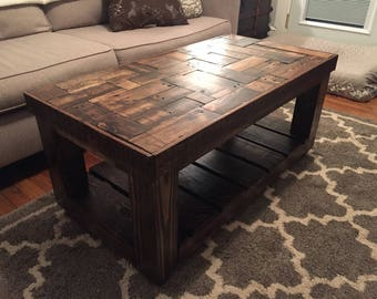 Wood Pallet Puzzle-Pieced Coffee Table