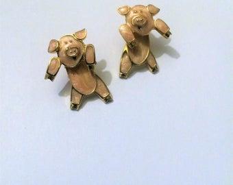 Vintage Berebi Pig Earrings, Pig Jewelry, Berebi Jewelry, Pink Enamel Earrings, Pierced Ears, VIntage, Pigs, Farm Animals, Animal Lovers