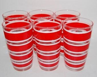 Vintage Hazel Atlas Striped Drinking Glasses - Set/6
