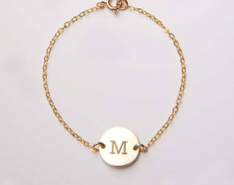Personalized Small Round Disc Bracelet-1/2 inch-Initial, Dog Paw, Heart, Symbols- Gold Filled, Rose Gold Filled & Sterling Silver-CG273B_0.5