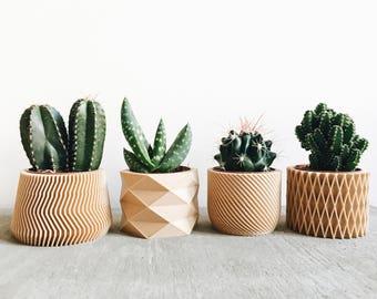 Set de 4 petits cache-pots Design Hygge Géométrique Minimaliste parfaits pour plantes grasses et cactus / Cadeau original pour Elle Lui