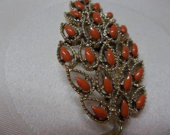 Vintage Gerrys Leaf Brooch Orange Goldtone