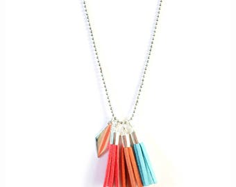 Pom poms (turquoise orange pink) Bohemian cluster necklace
