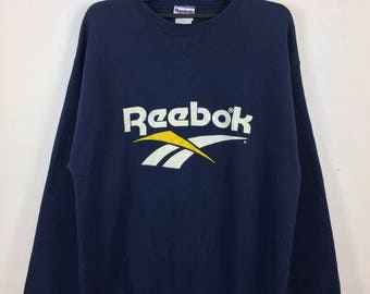 Vintage Reebok Sweatshirt Jumper Crewneck Big Logo Spell Out Dark Blue Color Sports Streetwear Clothing Xlarge Size Chest 23.5""