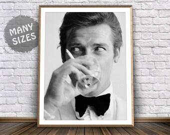 Roger Moore James Bond Poster • James Bond Print Roger Moore Photo Roger Moore Print James Bond Party 007 Party James Bond Art 007 Poster