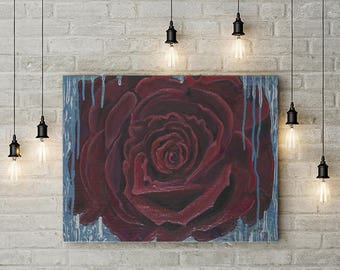 Red Rose Canvas Print of Mixed Media Acrylic Painting by Nesly Latorre for Home or Office Decor