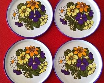 1960's enamel coasters, primrose, viola, daisy design, set of 6, excellent condition.