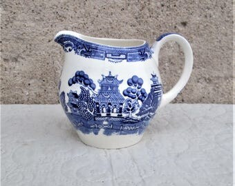 Vintage English Pitcher, English water jugs, blue and white pottery, alfred meakin pottery, 1930's ironstone