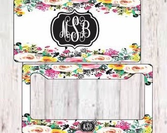 Monogram License Plate Frame - Personalized License Plate Frame - Floral License Plate Frame - Preppy License Plate Frame - Vintage License