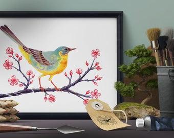 Yellow Wagtail Art Print, British Bird Wall Art, Colourful Bird Art, Cute Bird Art, Wagtail Wall Art, Whimsical Bird Art