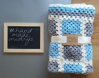 Baby Blanket, Grey and Blue, Baby Shower Gift