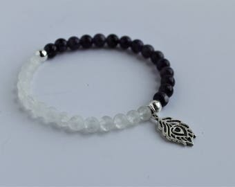 Purple Amethyst and  Clear Quartz Beaded Stretch Bracelet with Feather Charm  ; Healing stone bracelet
