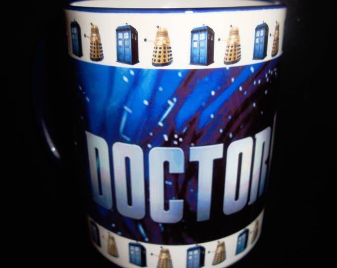 Dr Who Mug with Blue Handle & Rim