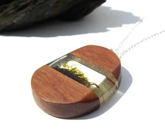 Wood resin moss necklace, resin jewelry, moss necklace, resin wood jewelry, wood pendant, real moss jewelry, unique gift, woodland pendant