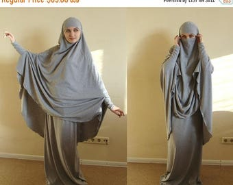 10% OFF Franch khimar gray suit, Muslim sport suit, Maxi skirt, Islamic dress, Long hijab, Stylish Sport Burqa, Gray Niqab, Islam cover