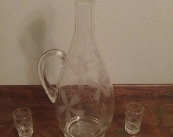 Vintage Seven (7) piece Etched Decanter & Glass Set