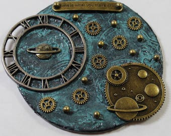 Solar Art Assemblage - Original Mini Art 3D Collage - Steampunk Clock - Round Art - One of a Kind - Found Objects - Mixed Media Assemblage