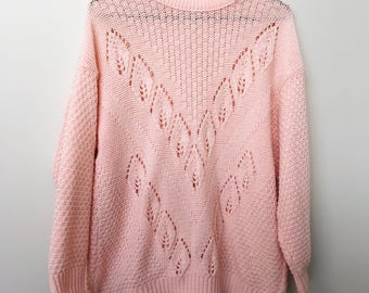 Baby Pink Women's Retro Knit Pullover Jumper Sweater