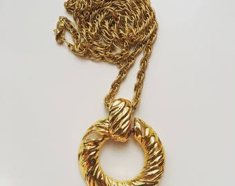 YSL Yves Saint Laurent Vintage Long Pendant Gold Tone Necklace