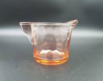 Vintage Pink Depression Glass Creamer ~ Jeannette Glass Company ~ Hex Optic Pink Pattern
