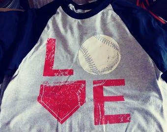 Love Baseball Raglan 3/4th sleeve T shirts