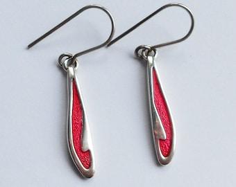 Scottish Silver & Red Enamel Drop Earrings, By Ortak, Malcolm Gray, Orkney