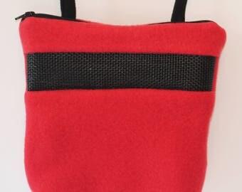 Sugar Glider Bonding Pouch, baby hedgehog bonding bag, small exotic nesting supplies, zipper bag, snuggle sack, Red Fleece