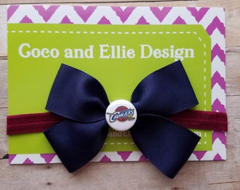 cleveland cavaliers bow headband-cleveland cavaliers hair bow-Cleveland cavaliers for girl-cavs headband- cavs hair bow-cavs gift for baby
