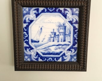 Handpainted Delft Tile / Framed / 1800s Unmarked Blue/White