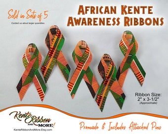 "SET OF 5 African Kente Style Awareness Ribbons - Sizes 2"" x 3.5"" - Pins preattached for your convenience - Ask about bundling lg quantities"