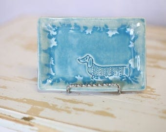Blue Pottery Dog Tray/Handmade Trinket Dish/Blue Decor Tray/Blue Jewelry Tray/Small Soap Dish/Blue Pottery Tray/dachshund pottery dish