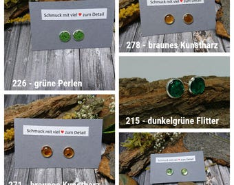 Earrings made of colored resin with different content (215, 226, 228, 271, 278) - resin