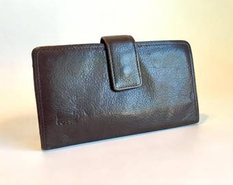 FOSSIL Brown Leather Wallet Billfold Checkbook Women's Accessories Vintage