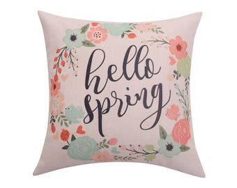 Watercolor flower throw pillow covers Spring wreath pillow cover Quote decorative pillow case Hello spring cushion cover Home decor 18x18
