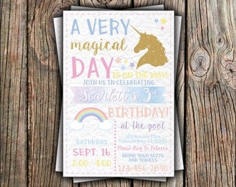 Unicorn, Rainbow Birthday Invitation
