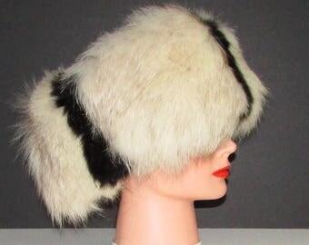 superbe  bandeau de fourrure de renard noir et blanc /Superb black and white foxfur headband