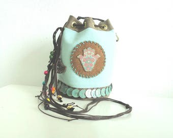 SALE!!! Crossbody bucketbag in boho style. Mint/brown/gold made of canvas and leather. Hamsa hand / hand of Fatima.