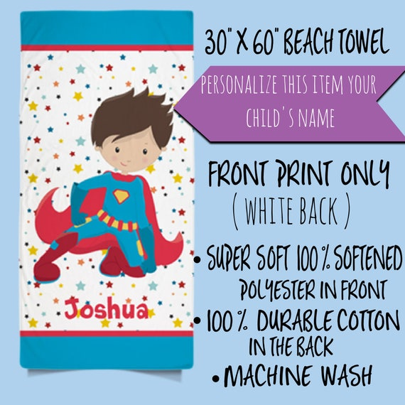 ON SALE! Custom Superhero Beach Towel for Kids | Personalized Boys Beach Towel | Childs Personalized Bath Towel | Personalized Gift for Kids